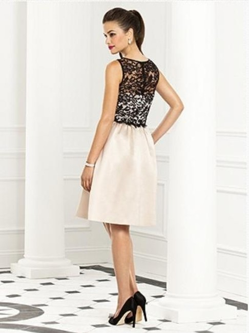 After Six Cocktail Sleeveless Satin Lace Beige Dress Image 1