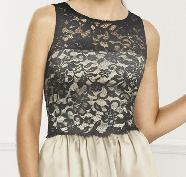 After Six Cocktail Sleeveless Satin Lace Beige Dress Image 3