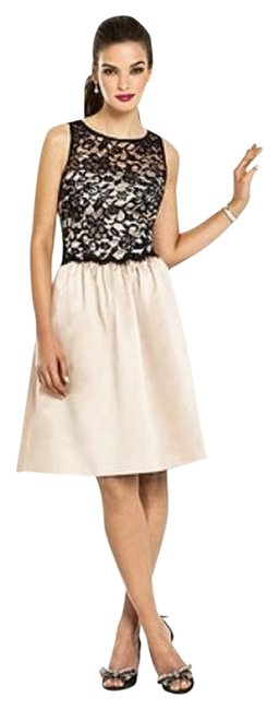 After Six Sleeveless Satin Lace Beige Dress