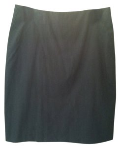 New York & Company Pinstripe Pencil Skirt Black with White Pinstripes