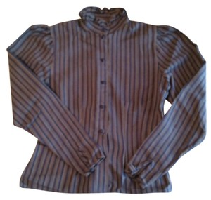 Next Era Classic Vintage Striped Victorian Office Top Blue Brown White