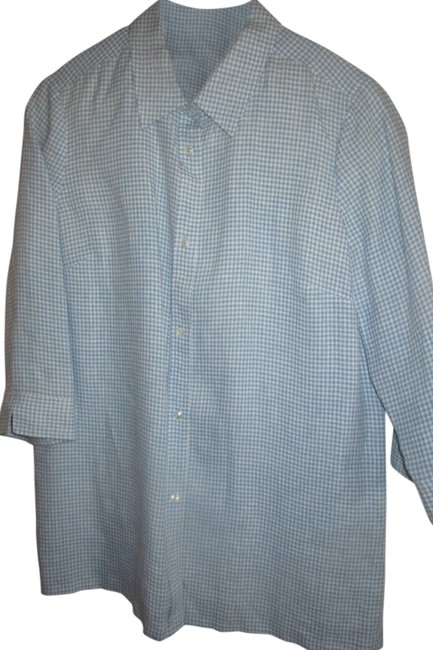 Item - Blue White Gingham Real Clothes By Button-down Top Size 10 (M)