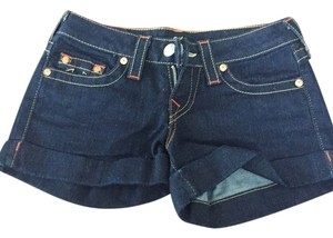 True Religion Denim Cuffed Shorts Dark Blue