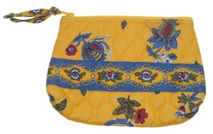 Vera Bradley Retired Vintage Vera Bradley Yellow Blue Red Floral Makeup Bag Pouch