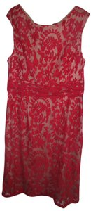 Adrianna Papell Red Lace Red Cocktail Wedding Holiday Dress