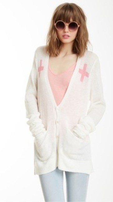 "Item - Soft White ""Love Saves Lives"" Perfect Cardi. Soldout Limited Run Label Cardigan Size 8 (M)"