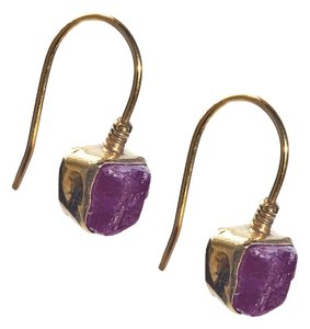 Condemned to Be Free Gold Vermeil Genuine Raw Ruby Dangle Earring