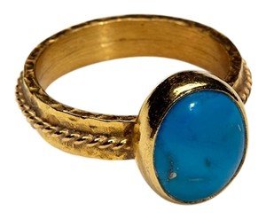 Condemned to Be Free Gold Vermeil Genuine Turquoise Cabochon Ring