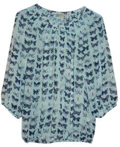Banana Republic Butterfly Print Peasant Boho Chic Top Pale Aqua