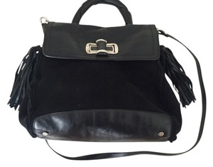 Cesare Paciotti Sheepskin Leather Shearling Winter Satchel in Black