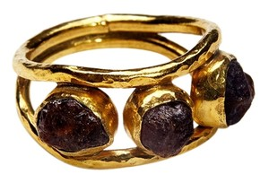 Condemned to Be Free Gold Vermeil Raw 3-Garnet Split Band Ring