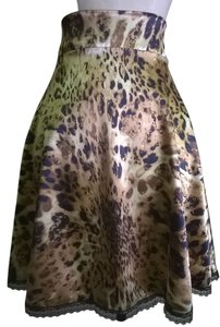 Lisa Nieves Leopard Satin Stretchy Skirt animal print / bronze / black / brown