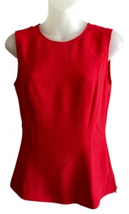 Claude Montana Designer Sleeveless Scoop V-back Rich Color Top Red
