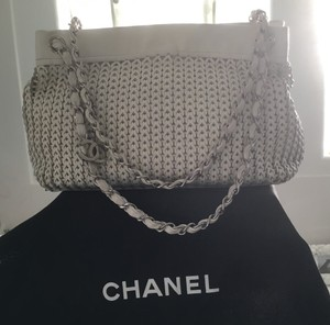 Chanel Woven Leather Silver Hardware Cream Ivory Shoulder Bag