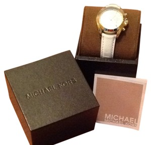 Michael Kors White Leather Gold Tone Chronograph Watch