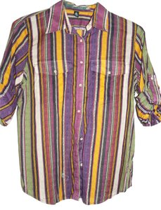Ralph Lauren Tribal Camp Shirt Tab Pockets Tab Sleeves Button Down Shirt Gold, Purple and Green Stripe