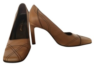 Charles David Tan with Brown Stitching Pumps