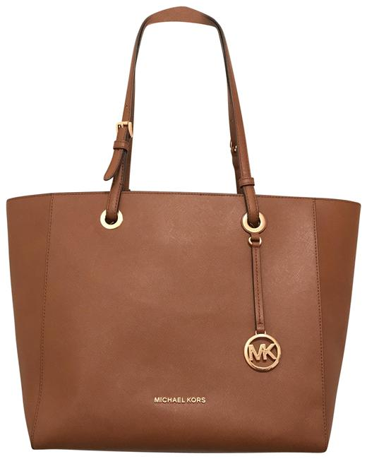 Item - Lg Saffiano Walsh Brown Gold Leather Tote