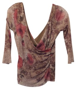 Weston Wear Anthropologie V-back Top Shades of taupe with rose and green