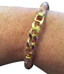 Italian bracelet, stamped gold plated 24k, pink leather / gold, front clasp opening