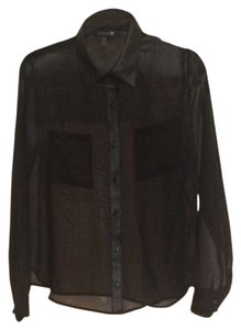 Forever 21 Button Down Shirt Black