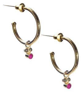 Condemned to Be Free Gold Vermeil Genuine Ruby Dangle Hoop Earring