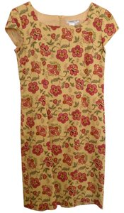 Coldwater Creek short dress Yellow with Pink and Green Jacobean Floral Cap Sleeves on Tradesy