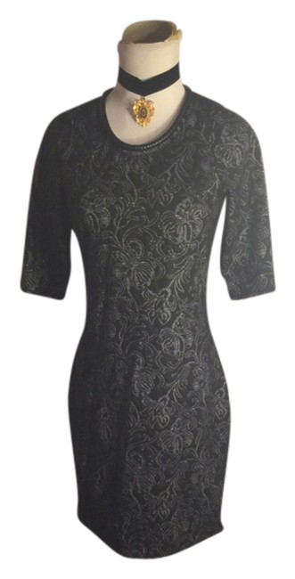 Item - Black/Silver Small-rachel Black/Silver Print Above Knee Night Out Dress Size 6 (S)