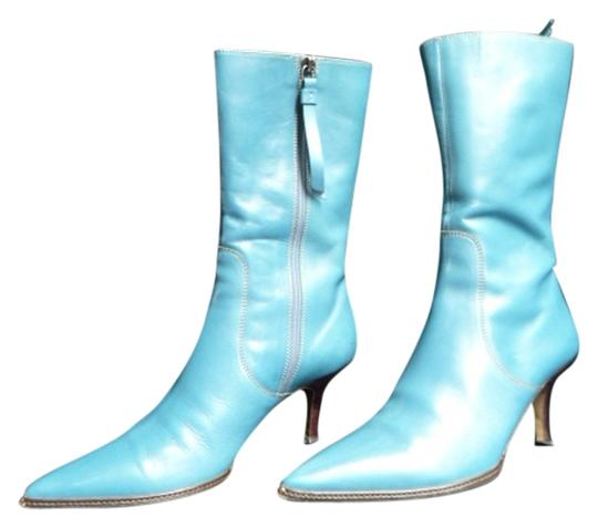 Coach Calfskin Midcalf Leather Teal Boots