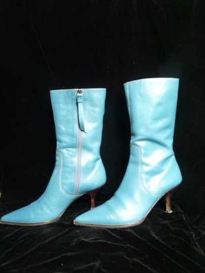 Coach Calfskin Midcalf Leather Teal Boots Image 1