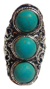 New Turquoise Gemstone Statement Ring Adjustable Size Silver Tone J2483 Summersale
