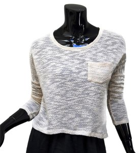 Lily White Crop Open Knit T Shirt Ivory