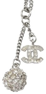 Chanel Authentic Chanel Silver CC Rhinestone Ball Dangle Necklace