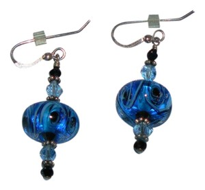 Other Beautiful Hand Blown Blue-Glass Drop Earrings