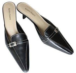 Karen Scott Black Leather Mules