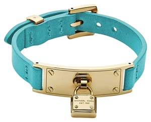 Michael Kors 2 Piece SET-w/BONUS*-Leather Padlock Bracelet & Turquoise Studs