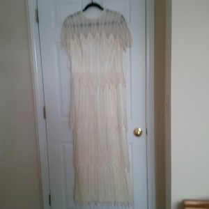 Bianchi Ivory Lace Over Satin Like Fabric New Gown Vintage Wedding Dress Size 12 (L)