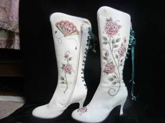Helena Angelique Vintage Monogram Stack Louie Heel Lace Up All Leather cream hand painted embellished Boots Image 1