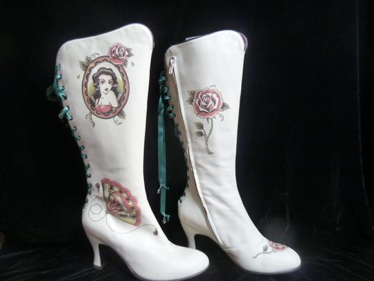 Helena Angelique Vintage Monogram Stack Louie Heel Lace Up All Leather cream hand painted embellished Boots