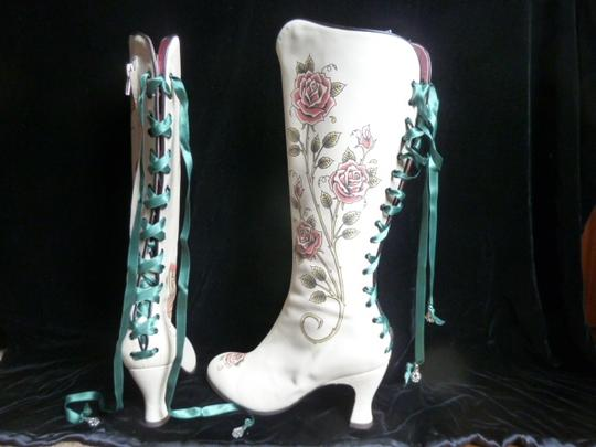 Helena Angelique Vintage Monogram Stack Louie Heel Lace Up All Leather cream hand painted embellished Boots Image 3