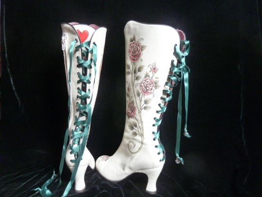 Helena Angelique Vintage Monogram Stack Louie Heel Lace Up All Leather cream hand painted embellished Boots Image 4