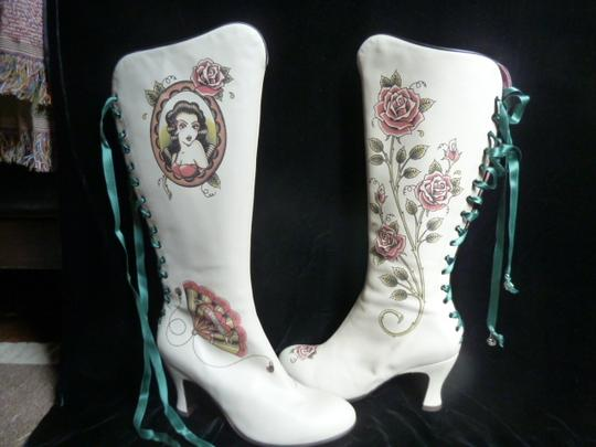 Helena Angelique Vintage Monogram Stack Louie Heel Lace Up All Leather cream hand painted embellished Boots Image 5