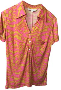 Trina Turk Colorful Sexy Retro Mod Top Hot pink and gold