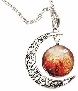 Space Moon And Galaxy Necklace