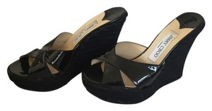 Jimmy Choo Espadrille Patent Leather Sandal Black Wedges