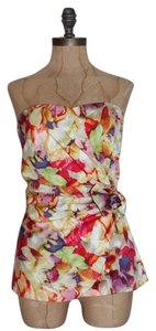Newport News Strapless Bustier Draped Floral Cocktail Party Date Night Top multi