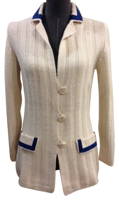 Item - Ivory and Cobalt Blue Italian Silk Cardigan Size 4 (S)