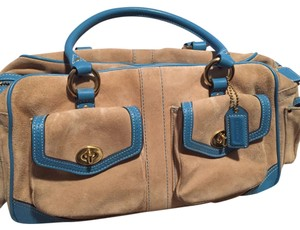 Coach Satchel in Biscotti/beige - turquoise Trim
