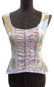Language Peplum Cotton Print Top Blue, white, pink, tan
