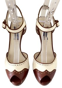 Ralph Lauren Collection Sandal Ivory/Brown Platforms